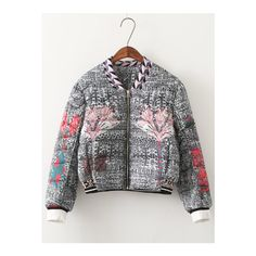 SheIn(sheinside) Colour Stand Collar Floral Crop Jacket ($61) ❤ liked on Polyvore featuring outerwear, jackets, multi color, multi color jacket, multi colored jacket, collar jacket, cotton zip jacket and stand collar jacket