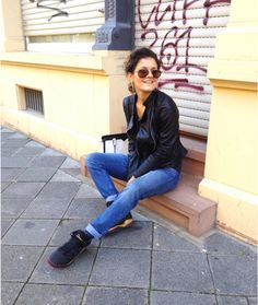 in love with my leather jacket from Zara  Description: boyfriendjeans - h&m sneakers - adidas