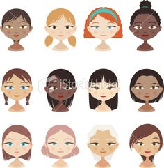 Avatar Profile Avatars Head and Shoulder People Character Girl Faces Royalty Free Stock Vector Art Illustration