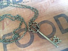 "Vintage Style Long Key Necklace Chain Antique Hipster Vtg Steampunk Brass Gift Coachella Petite Patina Bronze 30"" Giving Skeleton"