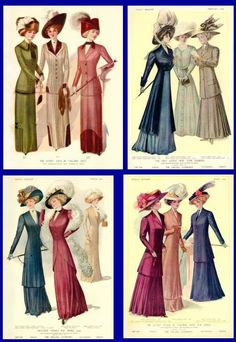 1910 fashion plate, vintage dresses and hats