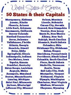 List of 50 United States their Capitals {freebie} Government Lessons, Teaching Government, Social Studies Worksheets, Teaching Social Studies, History Education, Kids Education, Teaching History, States And Capitals, Cultura General