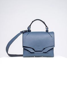 Linda Sieto's Shift Collection of Handbags Disregards Traditional Structures and Symmetries Symmetry Design, Leather Bags Handmade, Leather Shoulder Bag, Shoulder Bags, Italian Leather, Linda, Blue Denim, Clutches, Carry On