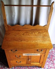 Antique Golden Oak Washstand/ Small Dressser With Towel Rack Photos and Information in AncientPoint Victorian Furniture, Antique Furniture, Painted Iron Beds, Antique Bedrooms, Antique Wash Stand, Vintage High Chairs, Dog House Plans, Golden Oak, Home Improvement Projects