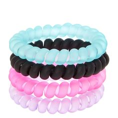 Black, Pink, Purple, And Mint Matte Coiled Hair Ties Scrunchies, Coil Hair Ties, Cute Suitcases, Hair Rubber Bands, Hair Tie Bracelet, Kids Makeup, Girls Fashion Clothes, Cute Bracelets, Girls Hair Accessories