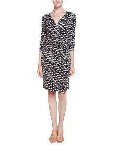Diane von Furstenberg New Julian Two Cork Jungle Black Print Jersey Wrap Dress is on Rue. Shop it now.