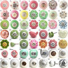 Ornamental Ceramic Door Knobs, Kitchen Cabinet, Cupboard or Drawer Pulls, Various Pink & Green Designs