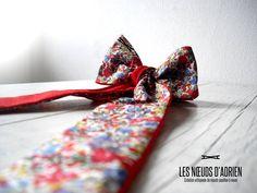 Firenze   Collection 2016 Odyssée Noeud papillon lavallière réversible  • Liberty blanc, rouge, bleu, vert • Coton rouge