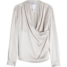 Max Mara Silk Blouse (156.620 HUF) ❤ liked on Polyvore featuring tops, blouses, grey, grey top, maxmara, draped blouse, drape top and gray blouse