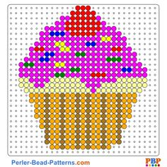 Cupcake perler bead pattern. Download a great collection of free PDF templates for your perler beads at perler-bead-patterns.com