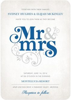 This is cute!!  Signature White Textured Wedding Invitations Flourish Title - Front : Blue Moon