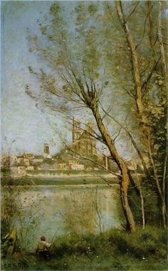 Mantes, View of the Cathedral and Town through the Trees - Camille Corot