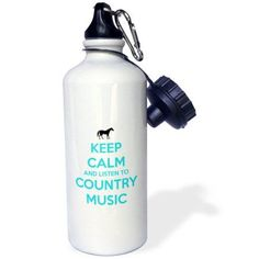 3dRose Keep calm and listen to country music. White and Turquoise. Horse., Sports Water Bottle, 21oz