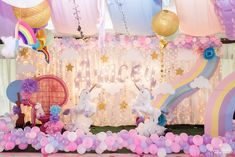 Unicorn Party Stage + Backdrop from a Magical Unicorn Birthday Party on Kara's Party Ideas   KarasPartyIdeas.com (15)