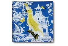 This gives me an idea. I love chinoiserie but this is set on glass. Perhaps do this with some fabric or a wallpaper reminant  on a wood tray.
