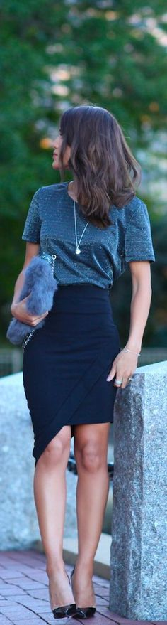 Pencil Skirt And Lurex Top / Fashion by Camila. I NEED that purse