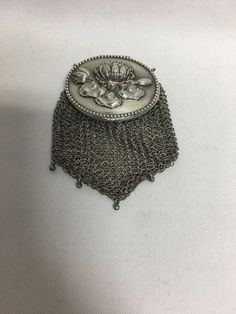Simons Brothers Sterling Silver Mesh Coin Purse Floral Repousse 1901…