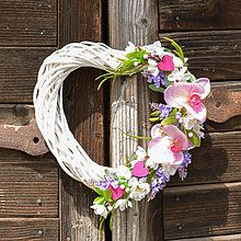 Srdce s orchideou / Hydrangea - SAShE. Grapevine Wreath, Grape Vines, Floral Wreath, Easter, Spring Wreaths, Hydrangea, Home Decor, Board, Floral Crown