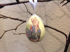 Peter Rabbit Decoupage Egg Ornament by clotheslinecuties on Etsy