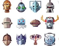"""""""Famous Robots"""" Cartooning, Illustration, Print Design Project by Daniel Nyari (Jackson Heights, USA) """"Famous Robots features a collection of some of pop culture's most well known androids and robots as illustrated portraits."""""""