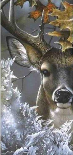 The Majestic Deer* This is SO gorgeous!* Stranger In Town ~ Whitetail deer painting by Jerry Gadamus ~ Walk gently upon our Earth Mother, Gaia, keeping in mind that She is forever receiving Her dead and giving birth. Animal Paintings, Animal Drawings, Art Drawings, Deer Paintings, Wildlife Paintings, Nature Paintings, Deer Pictures, Deer Art, Tier Fotos
