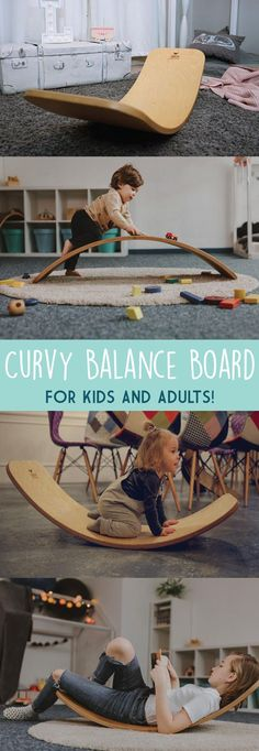 This little gem is a nifty piece of curvy work! It's for kids and adults alike, … This little gem is a nifty piece of curvy work! It's for kids and adults alike, his name is Joe. Used for dynamic equilibrium development. Board For Kids, Diy For Kids, Gifts For Kids, Baby Toys, Diy Bebe, Balance Board, Unique Gadgets, Waldorf Toys, Kids Wood