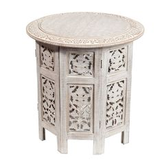 Table bout de canapé Saranya blanchie