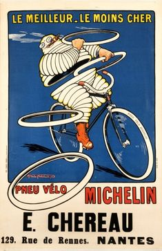 For Sale on - Original Antique Michelin Poster Pneu Velo Michelin Man Bibendum Bicycle Tires, Paper by Unknown. Offered by Antikbar Limited. Vintage Advertisements, Vintage Ads, French Vintage, Vintage Posters, Vintage Signs, Vintage Prints, Velo Paris, Michelin Man, Michelin Tires