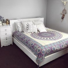 Bedroom bed styling urban outfitters blue and purple tapestry interior boho chic bohemian