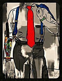 Details: red tie + blue straps