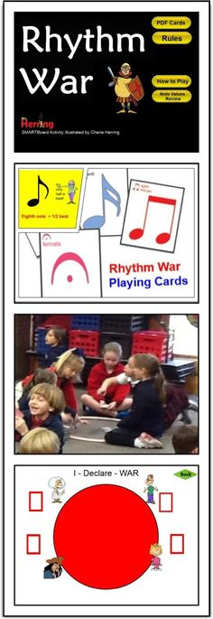 Rhythm WAR and Math - fast-paced card game for elem music classes. - Rhythm WAR and Math – fast-paced card game for elem music classes… reinforces note values. Middle School Music, Music Activities, Music Games, Rhythm Games, Music Lesson Plans, Class Games, Primary Music, Piano Teaching, Music Classroom