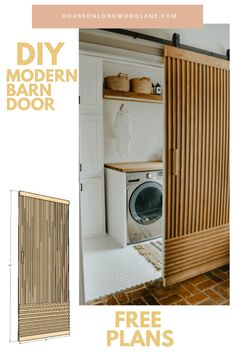 modern barn door diy, free plans for barn door, inexpensive barn door diy Architecture Renovation, Home Renovation, Modern Outdoor Furniture, Diy Furniture, Porte Diy, Laundry Room Inspiration, Laundry Room Remodel, Diy Barn Door, Laundry Room Design