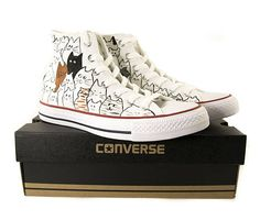 Chuck Taylor All Stars Converse high top shoes cat design