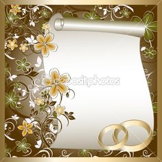Wedding card with a floral pattern and place for text — Stock Vector #7954374