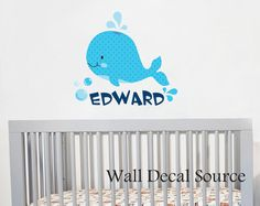 Whale Wall Decal - Monogram Wall Decal - Whale Wall Decor on Etsy, $40.00