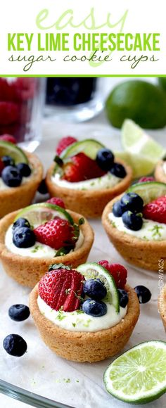 Key Lime Cheesecake Sugar Cookie Cups ~ no-bake cheesecake filling nestled in soft sugar cookie dough cups made from pre-made cookie dough...perfect for any occasion, from Easter to baby/bridal showers | carlsbadcravings.com