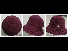 DIY: Cloche hat (Crochet Tutorial) - YouTube Crochet Hooded Scarf, Crochet Beret, Crochet Stitches, Crochet Patterns, Crochet Summer Hats, Crochet Baby Hats, Crochet Clothes, Sombrero A Crochet, Cloche Hat