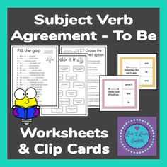 Subject Verb Agreements - To Be Worksheets &. by Love 2 Learn English English Teaching Resources, English Teachers, Writing Resources, Teacher Resources, Teaching Ideas, Subject Verb Agreement, Subject And Verb, Teaching Grammar, Teaching Reading