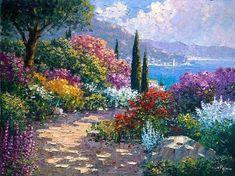 Impressionist Paintings, Seascape Paintings, Beautiful Paintings, Beautiful Landscapes, Monet, Landscape Art, Landscape Paintings, Image Nature, Garden Painting