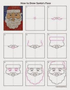 Art Projects for Kids: How to Draw Santa's Face - keep the kids busy with art activities at the Christmas fayre Christmas Art Projects, Winter Art Projects, Projects For Kids, Christmas Crafts, Christmas Drawings For Kids, Winter Christmas, Christmas Lights, Christmas Cookies, Drawing Lessons