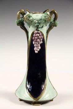 Majolica Vase - Art Nouveau Period Majolica Stem Vase