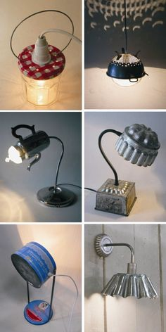 Lámparas recicladas con tarros y botes de hojalata