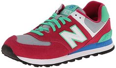 New Balance WL574 Damen Sneakers, Pink (CPV PINK/GREEN), 37.5 EU / 5 UK / 7 US - http://uhr.haus/new-balance/37-5-eu-5-uk-7-us-new-balance-wl574-damen-sneakers-2