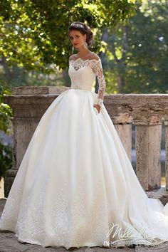 Milla Nova 2017 Long Sleeves Wedding Dresses Sheer Neckline Appliques Sweep Train Satin Vintage Country Bridal Gowns Vestidos De Noiva