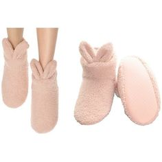 Women's Sherpa-lined Rabbit Indoor Slipper Boots with Non-Slip Bottom... ($13) ❤ liked on Polyvore featuring intimates, pink, socks & hosiery and pink slip #Socks&Hosiery