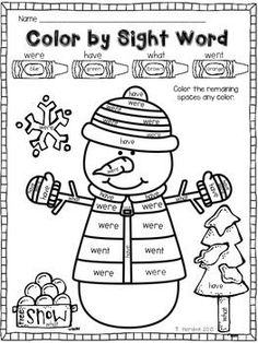 A fun way for your students to practice sight words! Color the snowman to practice reading sight words. Please check out my other Color by Sight Word activities for more sight word practice