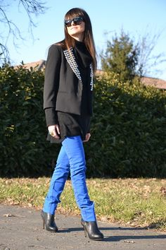 Blue and studs (by Lucy D) http://lookbook.nu/look/3204249-Blue-and-studs