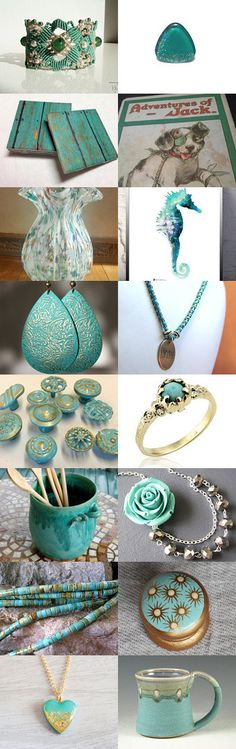 #Turquoise Treasures! by Eloise Powell on Etsy--Pinned with TreasuryPin.com  #vintage #art #EtsySHP #SumertAaDesigns #homedecor #jewelry #jewellery #handmade #jewelryonetsy #treasury