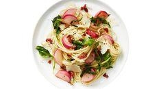 Sautéed Radish, Greens and Pancetta Pasta Pancetta Pasta, Radish Greens, Linguine, How To Cook Pasta, Allrecipes, Pasta Recipes, Crisp, Spaghetti, Stuffed Peppers