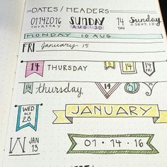 Header ideas from pintrest. #bujoinspire #bujojunkies #bulletjournal #bujolove #bujo #bulletjournalcommunity #bulletjournallove #journal #bulletjournaljunkies #bujoy #headers #dates